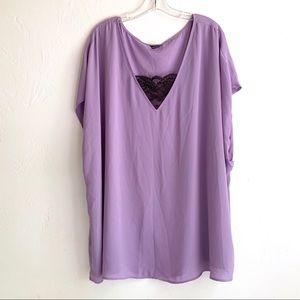 Torrid Purple Black Cap Sleeve Polyester Tunic Top